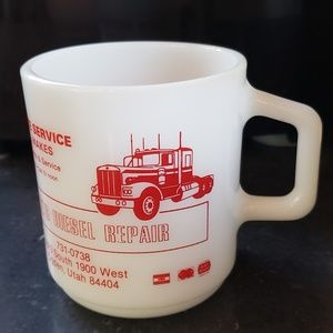 Milk Glass Mug Truck Advertising